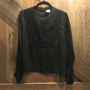 Paper Crane Black Sheer Tuxedo Lace Pleat Blouse